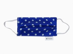 Double Layer Mulberry Silk Face Mask With Organic Cotton Blue Dots Print
