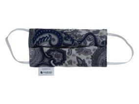 Silk Face Covering With Organic Cotton Paisley Blue Print For Children & Adults