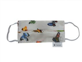 Butterfly Print Silk and Organic Cotton Face Mask For Children & Adults