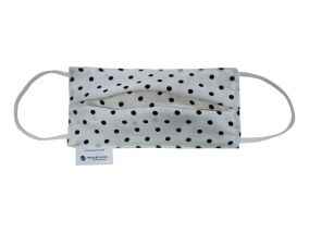 Luxurious Silk Face Mask With Organic Cotton Black Dots Print For Children & Adults