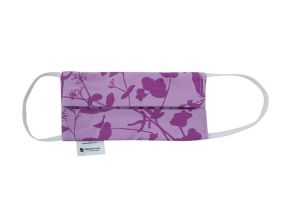 Purple Flowers Organic Cotton and Silk Face Mask For Children & Adults